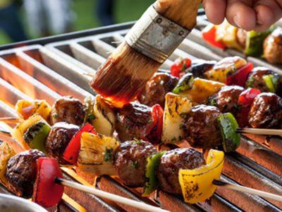 Grilled Meatballs & Pepper Skewers
