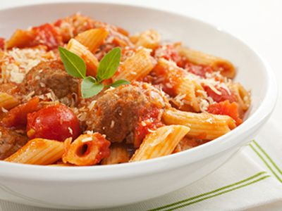 Meatball Penne with Red Sauce