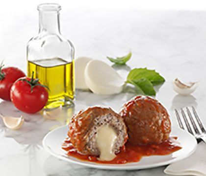 cooked perfect three cheese in marina sauce stuffed meatballs lifestyle