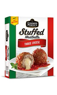 cooked perfect three cheese stuffed meatballs