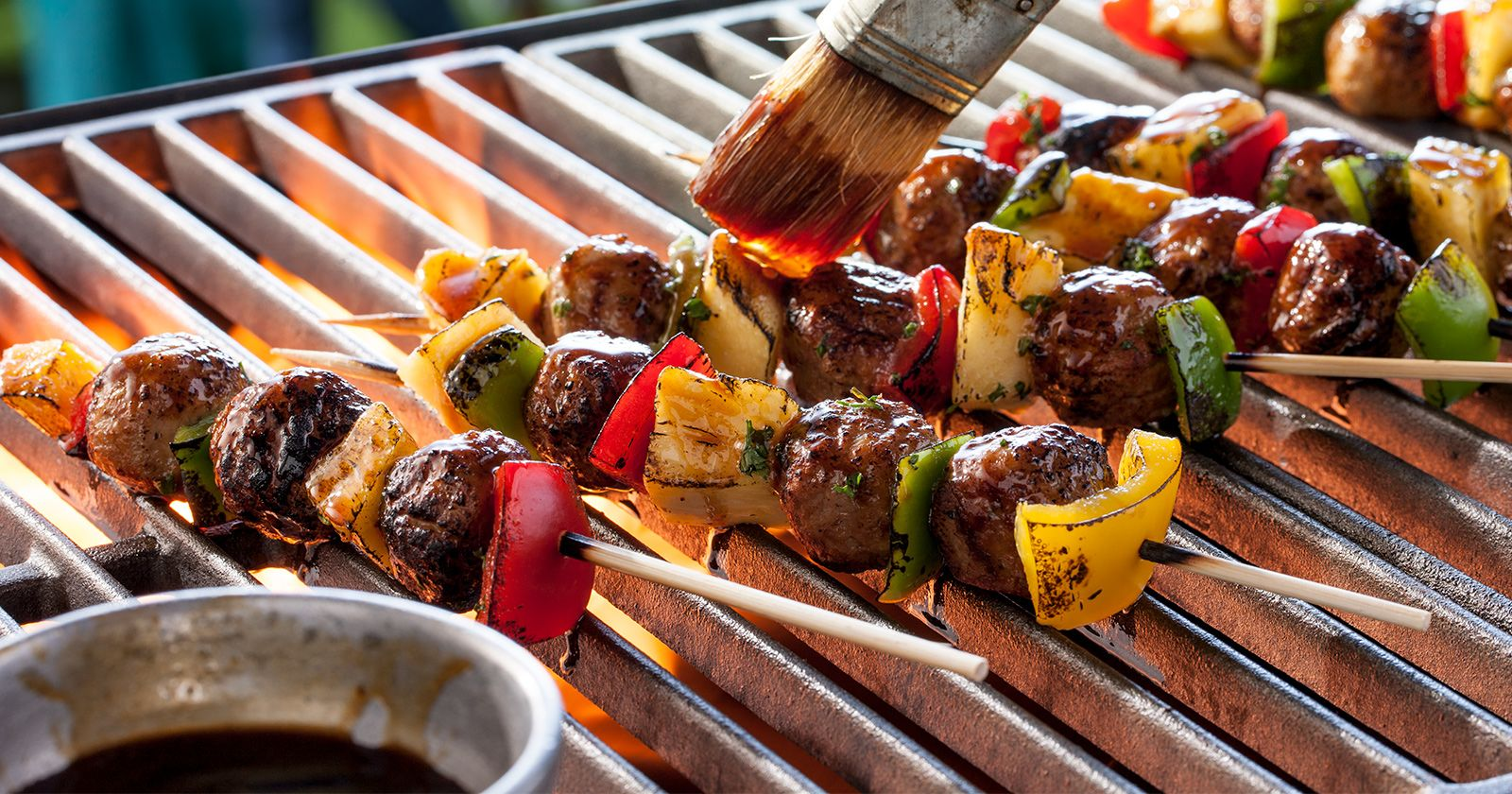 cooked perfect grilled meatballs pepper skewers