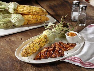 Chicken Tenders with Grilled Corn and Butter