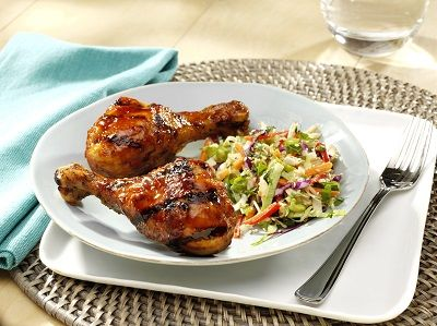 Chicken Drumsticks with Sesame Spiked Slaw