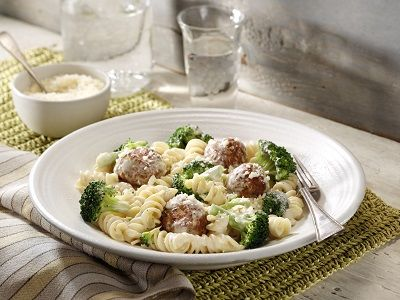Broccoli & Chicken Meatball Alfredo