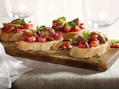 Chicken Meatball Bruschetta