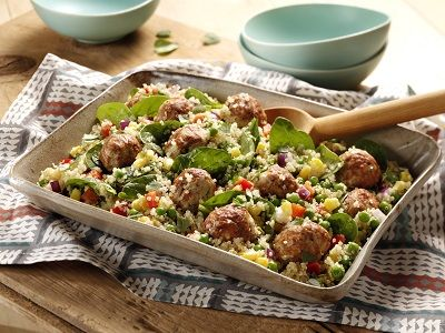 Quinoa Vegetable Salad with Chicken Meatballs