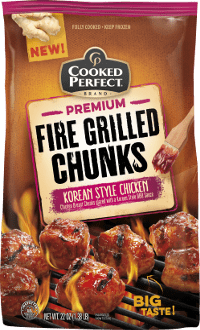 cooked perfect korean style chicken fire grilled chunks