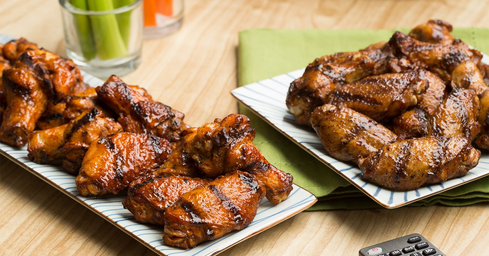 cooked perfect maple sriracha and zesty herbs and spice fire grilled chicken wings
