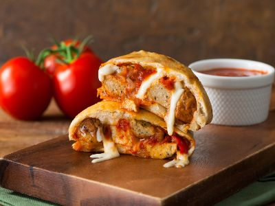 Meatball and Pepper Calzones