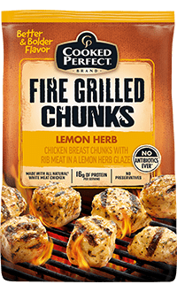 cooked perfect lemon herb chicken fire grilled chunks