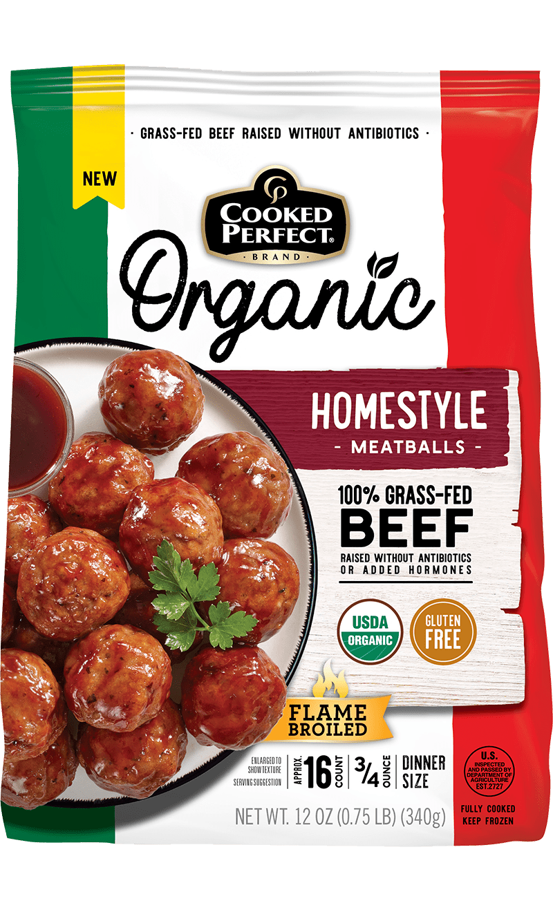 cooked perfect organic homestyle meatballs