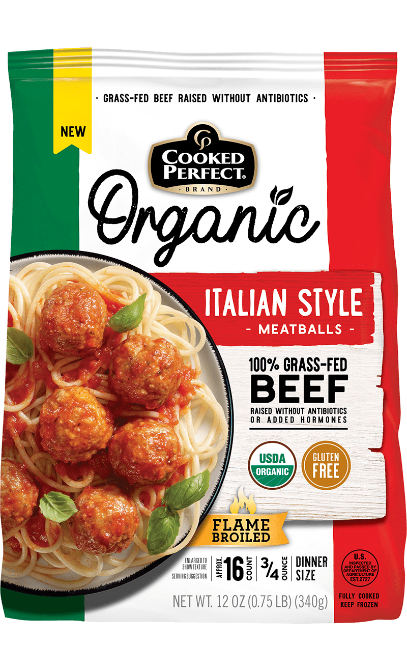 cooked perfect organic italian style meatballs